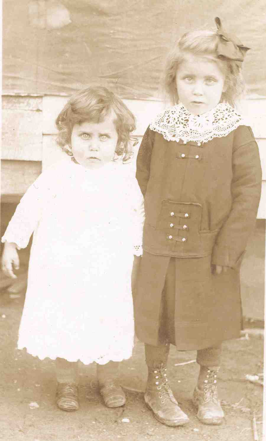 Gran and girl postcard