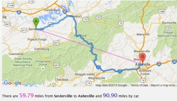 sevierville to asheville map