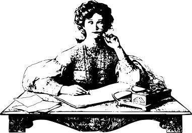 old fashioned drawing of a woman writing